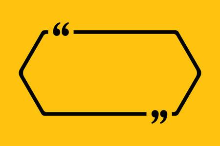 Leere Vorlage Vektor-Zitat. Quadratisch mit Halterung. Leeres Rahmenquadrat. Visitenkartenvorlageninformationen, Text, Nachricht. Textformular zitieren. Einladung, Poster, Hintergrund Motivation Inspiration Vektorgrafik