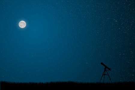 Silhouette telescope on starry night sky with blue glow. Shining stars on the dark sky. Outdoor night. Modern nature banner, background, card, backdrop. Telescope watch on stars.