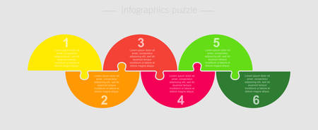 Six pieces puzzle half circles diagram. Circles business presentation infographic. 6 steps, parts, pieces of process diagram. Section compare banner. Jigsaw puzzle info graphic. Marketing strategy.