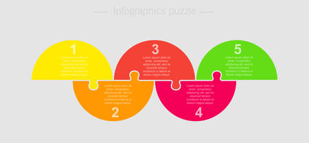 Five pieces puzzle half circles diagram. Circles business presentation infographic. 5 steps, parts, pieces of process diagram. Section compare banner. Jigsaw puzzle info graphic. Marketing strategy. Ilustrace