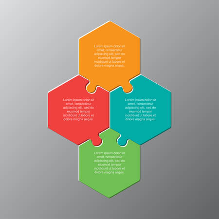 Four pieces puzzle hexagonal diagram. Hexagon business presentation infographic. 4 steps, parts, pieces of process diagram. Section compare banner. Jigsaw puzzle info graphic. Marketing strategy. Ilustrace