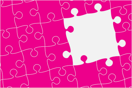 Piece puzzle background, banner, blank. Vector jigsaw section template isolated. Background with puzzle green mosaic, details, tiles, parts. Square outline pattern jigsaw. Game group detail. Ilustrace