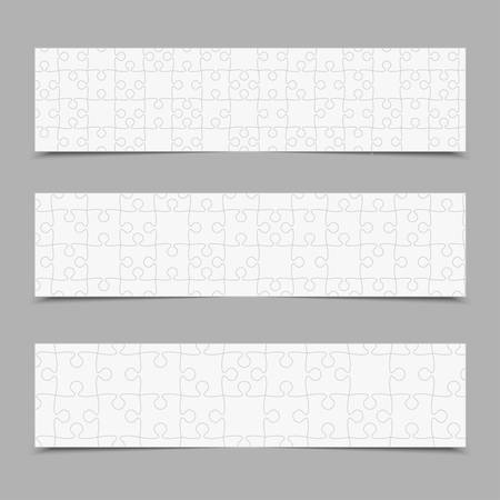 Vector set business cards flyers brochures, booklets. Jigsaw banner, background, backdrop of puzzle white pieces. Teamwork corporate. Office work. Business cards from pieces, parts puzzle.