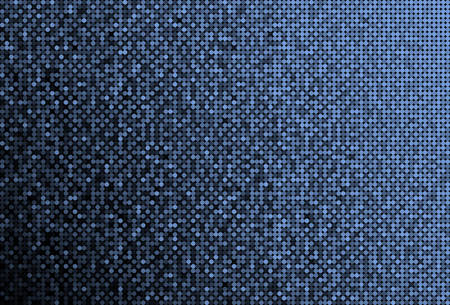 Horizontal banner or background with blue sequins, glitters, sparkles, paillettes. Disco party background with shiny sequins. Blue dot glitter texture. Metallic glowing cloth. Bright wall. Repeat.
