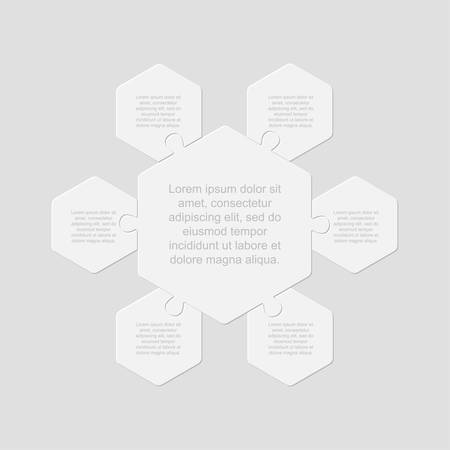 Six pieces puzzle hexagonal diagram. Hexagon business presentation infographic. 6 steps, parts, pieces of process diagram. Section compare banner. Jigsaw puzzle info graphic. Marketing strategy. Ilustrace