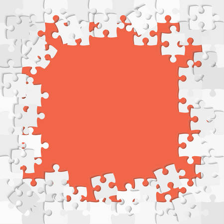 Pieces puzzle red background, banner, blank. Vector jigsaw section template isolated. Background with puzzle red mosaic, details, tiles, parts. Square outline frame jigsaw. Game group detail.