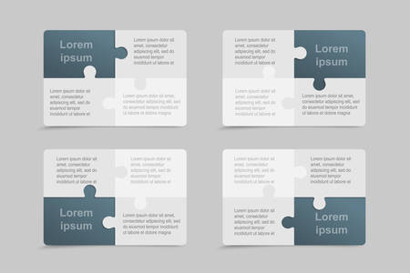 Vector set business cards flyers brochures, booklets. Jigsaw banner, background, backdrop of puzzle blue grey pieces. Teamwork corporate. Office work. Business cards from pieces, parts puzzle.