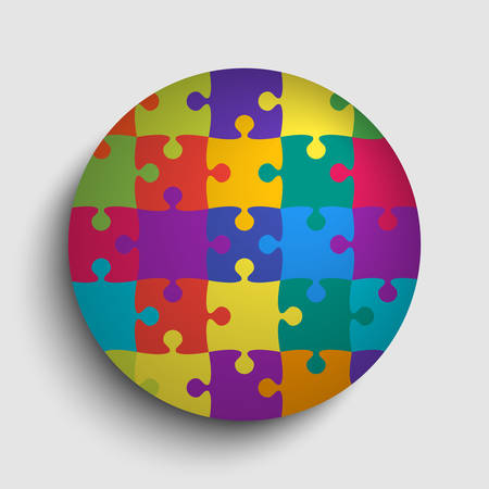 Pieces puzzle background, banner, blank. Vector jigsaw section template isolated. Background with puzzle multicolor mosaic, details, tiles, parts. Circle outline pattern jigsaw. Game group detail.