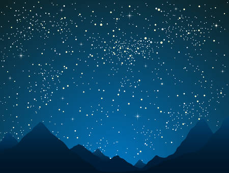 Silhouette mountains on starry night sky with blue glow. Shining stars on the dark sky. Outdoor night. Modern nature banner, background, card, backdrop. Traditional holiday.