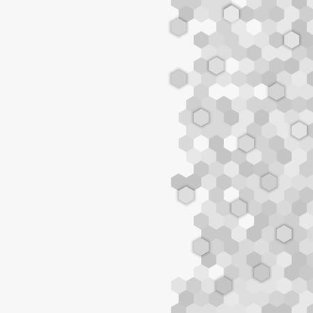 Grey random hexagon mosaic, tiles background. Perspective banner honeycomb. Background with polygonal hexagonal tiles. Texture for pool, walls, bathroom, kitchen, flooring. Square geometric format. Ilustrace