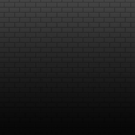 Wall on dark background. Stonewall modern interior. Vector wallpaper template. Bricks texture abstract grunge background. Old black bricks wall. Banner design concept. Square format.