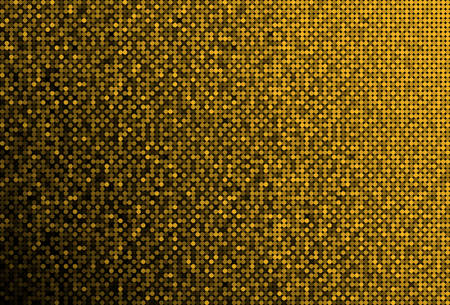 Horizontal banner or background with gold sequins, glitters, sparkles, paillettes. Disco party background with shiny sequins. Gold dot glitter texture. Metallic glowing cloth. Bright wall. Repeat.