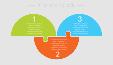Three pieces puzzle half circles diagram. Circles business presentation infographic. 3 steps, parts, pieces of process diagram. Section compare banner. Jigsaw puzzle info graphic. Marketing strategy.