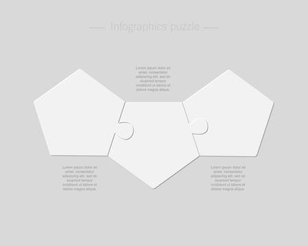 Three pieces puzzle pentagon diagram. Circles business presentation infographic. 3 steps, parts, pieces of process diagram. Section compare banner. Jigsaw puzzle info graphic. Marketing strategy.