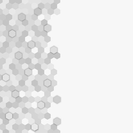 Mosaico di esagono casuale grigio, sfondo di piastrelle. Banner in prospettiva a nido d'ape. Sfondo con piastrelle esagonali poligonali. Texture per piscina, pareti, bagno, cucina, pavimenti. Formato geometrico quadrato. Vettoriali