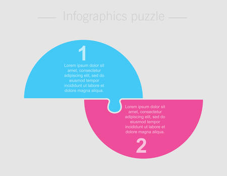 Two pieces puzzle half circles diagram. Circles business presentation infographic. 2 steps, parts, pieces of process diagram. Section compare banner. Jigsaw puzzle info graphic. Marketing strategy.