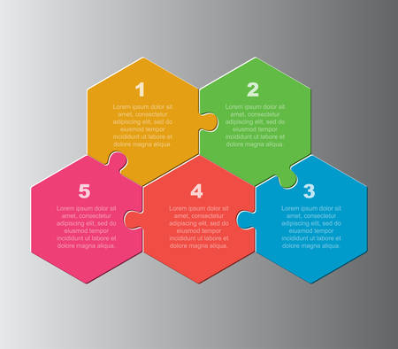 Five pieces puzzle hexagonal diagram. Hexagon business presentation infographic. 5 steps, parts, pieces of process diagram. Section compare banner. Jigsaw puzzle info graphic. Marketing strategy. Çizim