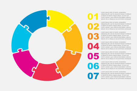 Seven pieces puzzle circles diagram. Circles business presentation infographic. 7 steps, parts, pieces of process diagram. Section compare banner. Jigsaw puzzle info graphic. Marketing strategy.
