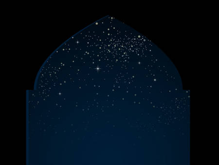 Silhouette arch on starry night sky with blue glow. Shining stars on the dark sky. Arab night. Modern arabic banner, background, card, backdrop. Dome of mosque arabic month. Traditional holiday. 向量圖像
