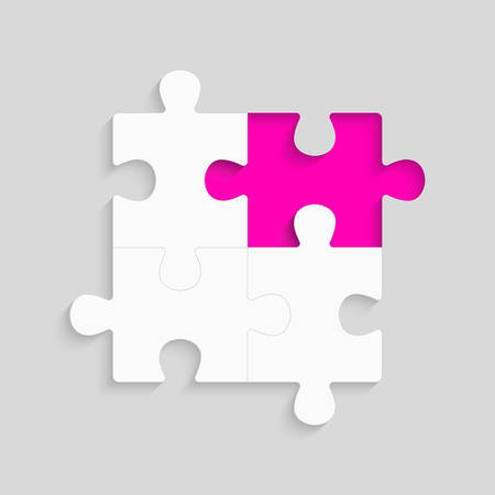 Pieces puzzle pink background, banner, blank. Vector jigsaw section template isolated. Background with puzzle grey mosaic, details, tiles, parts. Square outline frame jigsaw. Game group detail.