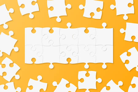 Piece puzzle background, banner, blank. Vector jigsaw section template isolated. Background with puzzle mosaic, details, tiles, parts. Square outline pattern jigsaw. Game group detail. Vector Illustration