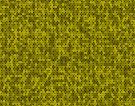 Yellow random circle mosaic, dots background. Banner circles. Background with polygonal tiles. Texture for pool walls bathroom, kitchen, flooring. Rectangle geometric format.