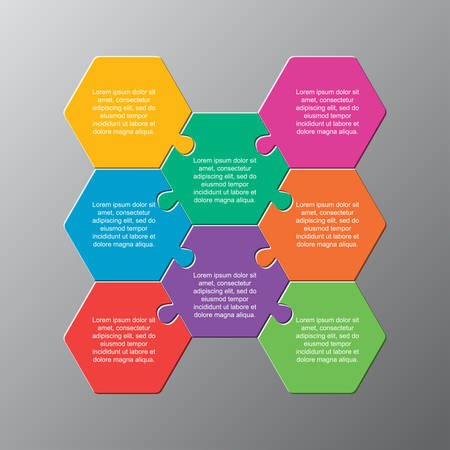 Eight pieces puzzle hexagonal diagram. Hexagon business presentation infographic. 8 steps, parts, pieces of process diagram. Section compare banner. Jigsaw puzzle info graphic. Marketing strategy.