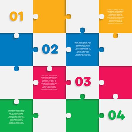 Sechzehn Puzzle-Quadrate-Diagramm. Quadratische Business-Präsentation Infografik. 16 Schritte, Teile, Teile des Prozessdiagramms. Abschnitt Banner vergleichen. Puzzle-Infografik. Vermarktungsstrategie.