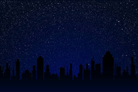 Silhouette city on the starry night sky with dark glow. Shining stars on the dark sky with dark buildings. Town night. Modern nature banner, background, card, backdrop.