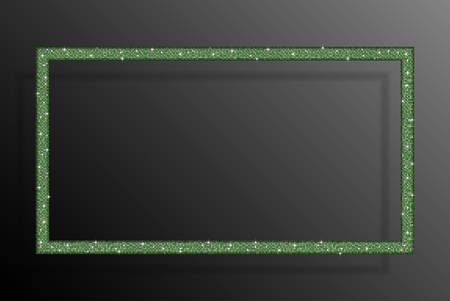 Rectangle frame, background green sequins, glitters, sparkles, paillettes. Disco party light music shiny sequins. Green dots glitter texture. Metallic glowing cloth fashion. Bright frame. Repeat.