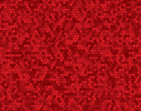Red random circle mosaic, dots background. Banner circles. Background with polygonal tiles. Texture for pool walls bathroom, kitchen, flooring. Rectangle geometric format. Stock Illustratie