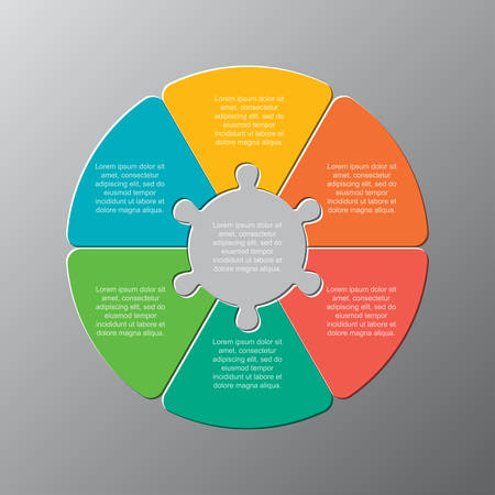 Six pieces puzzle circles diagram. Circles business presentation infographic. 6 steps, parts, pieces of process diagram. Section compare banner. Jigsaw puzzle info graphic. Marketing strategy.