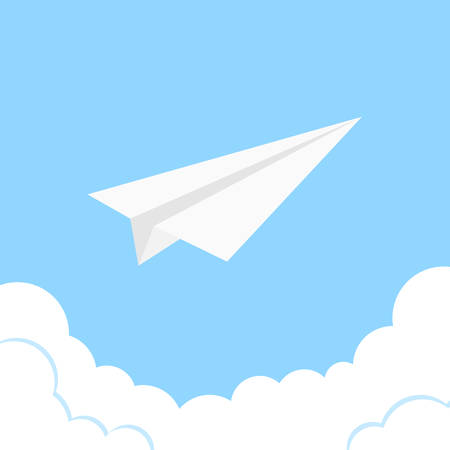 Paper plane art of business success and leadership different concept idea. Vector start up and launch. New ideas. Paper airplane for your invention and development. Creative background, banner.