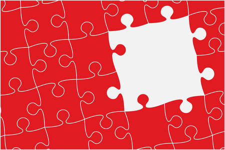 Pieces puzzle background, banner, blank. Vector jigsaw section template isolated. Background with puzzle red mosaic, details, tiles, parts. Square outline frame jigsaw. Game group detail.