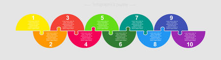 Ten pieces puzzle half circles diagram. Circles business presentation infographic. 10 steps, parts, pieces of process diagram. Section compare banner. Jigsaw puzzle info graphic. Marketing strategy. Ilustrace