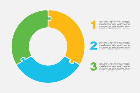 Three pieces puzzle circles diagram. Circles business presentation infographic. 3 steps, parts, pieces of process diagram. Section compare banner. Jigsaw puzzle info graphic. Marketing strategy.