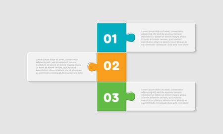 Three pieces puzzle squares diagram. Squares business presentation infographic. 3 steps, parts, pieces of process diagram. Section compare banner. Jigsaw puzzle info graphic. Marketing strategy.
