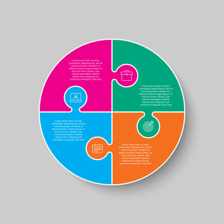 Four pieces puzzle circles diagram. Circles business presentation infographic. 4 steps, parts, pieces of process diagram. Section compare banner. Jigsaw puzzle info graphic. Marketing strategy. Ilustrace