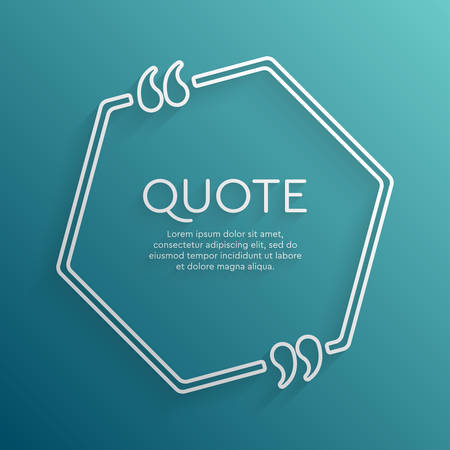 Vector template blank circle quote. Speech box with bracket. Empty frame for messages. Business card template information text message. Quote text form. Background for motivation inspiration.