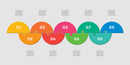 Half circles nine puzzle jigsaw vector infographic 일러스트
