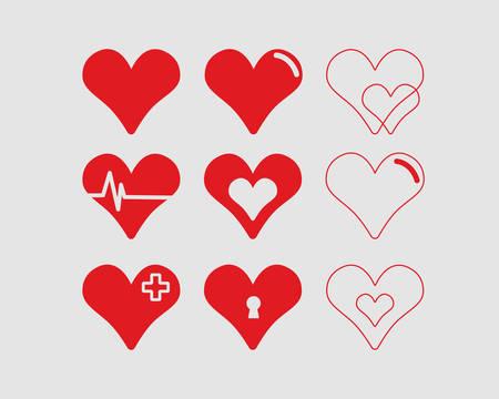 Red hearts vector illustrations set medical style Illusztráció