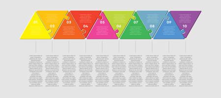 Infografik zum Prozess der Dreieckslinie mit zehn Puzzleteilen