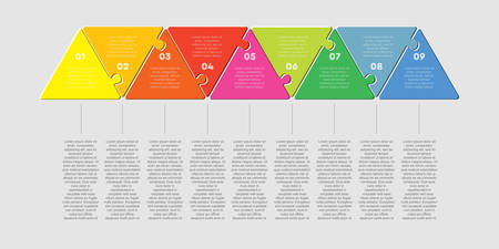 Nine pieces puzzle triangles process. Triangle line business presentation infographic. 9 steps, parts, pieces of process diagram. Section compare banner. Jigsaw puzzle info graphic. Marketing strategy.