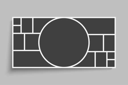 Szablony kolażu piętnaście ramek zdjęć części, obrazu lub ilustracji. Ramki wektorowe. Prezentacja zarządu i brandingu. Kreatywny motyw. Tablica nastrojów. 15 zdjęć. Makieta ramki plakatu. Koncepcja kolażu. Ilustracje wektorowe