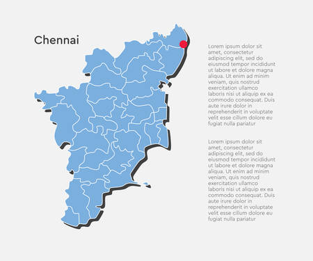 Detailed vector India country outline border map isolated on background. Tamil Nadu state, region, area, province, territory, department for your report, infographic, backdrop, business concept.