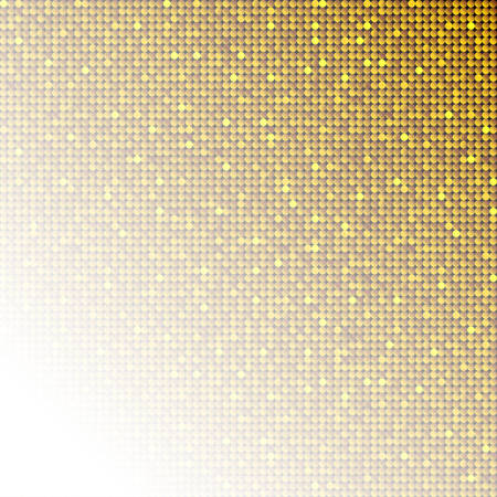 Golden sequins, glitters, sparkles, paillettes, mosaic background template. Abstract luxury halftone vector creative backdrop. Gold rounds with gradient trendy. Vibrant shiny dots glitter texture. Vektorové ilustrace