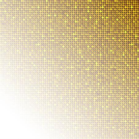 Lentejuelas doradas, brillos, destellos, lentejuelas, plantilla de fondo de mosaico. Telón de fondo creativo de vector de semitono de lujo abstracto. Rondas de oro con degradado de moda. Textura de brillo de puntos brillantes vibrantes. Ilustración de vector