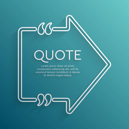 Vector template blank arrow quote. Speech box with bracket. Empty frame for messages. Business card template information text message. Quote text form. Background for motivation inspiration. Çizim