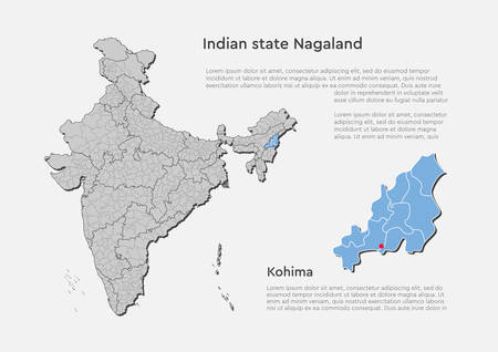 Detailed vector India country outline border map isolated on background. Nagaland state, region, area, province, territory, department for your report, infographic, backdrop, business concept.