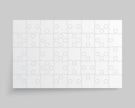 Background made with 40 white pieces puzzle. Vector rectangle banner jigsaw template with particles, details, tiles, parts. Frame pattern for education and presentation with element piece puzzle.